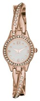 Merona Women's Twist Half Bangle Watch with Mother of Pearl Dial Rose Gold