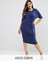 Asos Midi T-Shirt Dress With Twist Knot Front