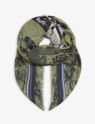 Zadig & Voltaire Kerry floral snake print modal scarf