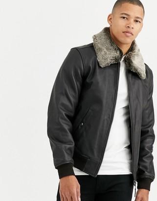 Schott LC93D leather flight jacket detachable faux fur collar slim fit in dark brown/black