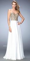La Femme Embellished Chiffon Scoop Prom Dress
