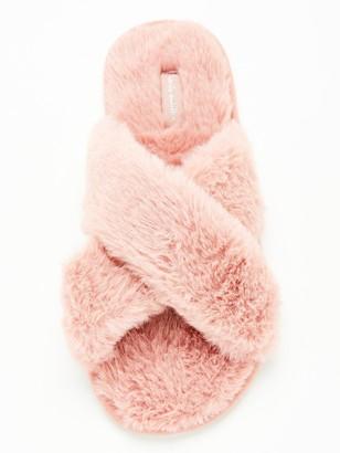 Hunkemoller Cross Strap Faux Fur Slippers - Rose