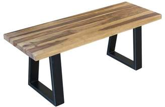 """Amerihome AmeriHome Entryway Dining Bench 45"""" x 16"""" with Rosewood Top and Metal Legs"""
