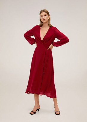 MANGO Wrapped midi dress