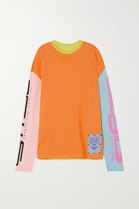 McQ Appliqued Color-block Printed Cotton-jersey Top - Orange