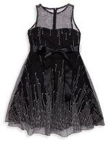 Un Deux Trois Girl's Dotted Mesh Dress