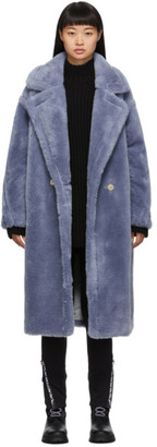 Yves Salomon Meteo Blue Wool Double-Breasted Coat