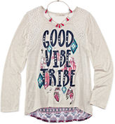 Self Esteem Long-Sleeve Graphic Top with Tassel Necklace - Girls 7-16 and Plus