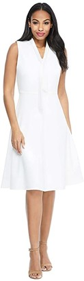 Maggy London Solid Crepe Fit and Flare with Neck Tie (Soft White) Women's Dress