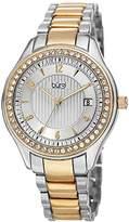 Burgi Women's BUR135TTG Swarovski Crystal Accented Embossed Dial Silver and Yellow Gold Bracelet Watch