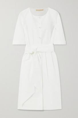 Brock Collection Cotton, Linen And Silk-blend Poplin Dress - Off-white