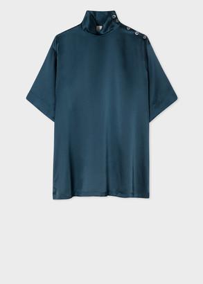 Women's Dark Teal Silk Funnel Neck Top