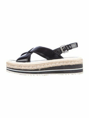 Prada Leather Colorblock Pattern Espadrilles Black