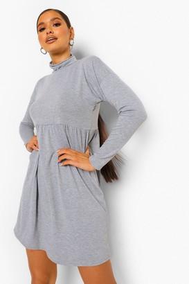 boohoo Long Sleeve High Neck Smock Dress