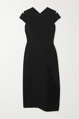 Roland Mouret Carola Draped Crepe Midi Dress - Black