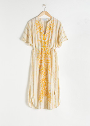 And other stories Embroidered V-Neck Cotton Kaftan
