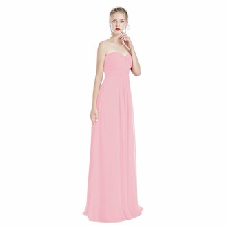 OwlFay Elegant Women Strapless Chiffon Long Wedding Bridesmaid Dress Sweetheart Ruched Bust Empire Waist Floor Length A-line Formal Maxi Dress Evening Party Cocktail Prom Ball Gown Pink UK 14