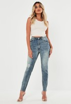 Missguided Petite Blue Vintage Ripped Knee Jeans