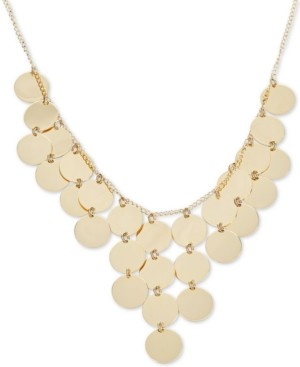 """Italian Gold Multi-Disc Dangle Disc Statement Necklace in 14k Gold-Plated Sterling Silver, 15-3/4"""" + 2"""" extender"""