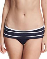Seafolly Castaway Striped Skirted Hipster Swim Bikini Bottom, Blue/White