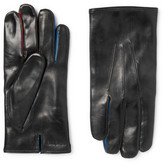 Paul Smith Contrast-trimmed Leather Gloves - Black