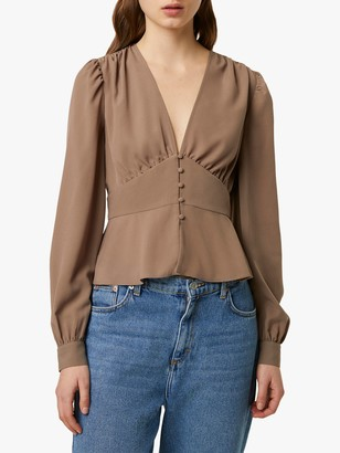 French Connection Blaine Crepe Blouse, Brown