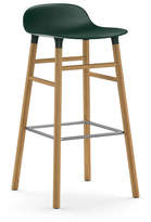 Normann Copenhagen Form Barstool H75cm Green/Oak Plastic Shell Steel Footrest
