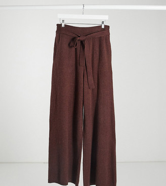 NATIVE YOUTH relaxed wide leg pants with tie waist co-ord in chestnut