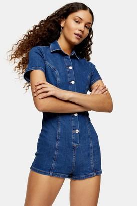 Topshop Womens Stretch Denim Button Through Mini Playsuit - Mid Stone