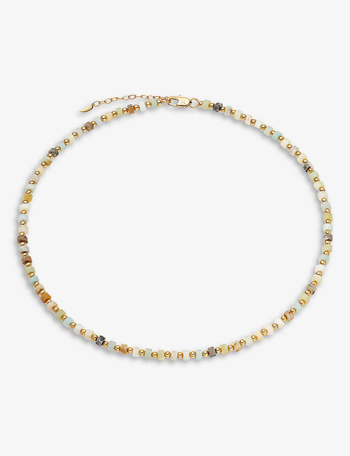 Thumbnail for your product : Missoma 18ct Yellow Gold-Plated Brass And Amazonite Necklace