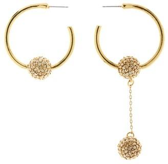 Oscar de la Renta Pave Ball Hoop Earrings