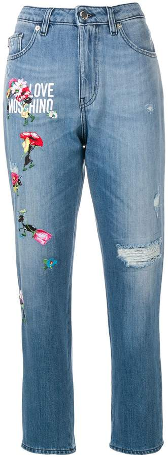 Love Moschino embroidered details distressed jeans