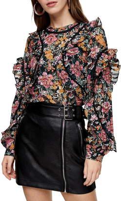 Topshop Floral Ruffle Blouse