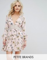Boohoo Petite Floral Skater Dress With Lace Insert