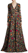 Naeem Khan Long-Sleeve Floral-Embroidered Chiffon Gown, Black/Red