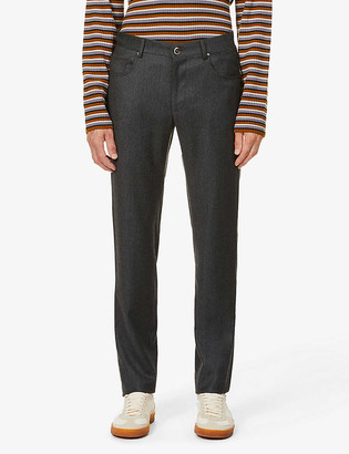 Corneliani Straight belted wool trousers