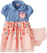 Nannette Baby Girl Chambray Rosette Clip Dot Skirt Dress