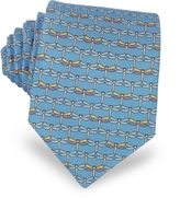 Laura Biagiotti Light Blue Dragonflies Print Twill Silk Tie