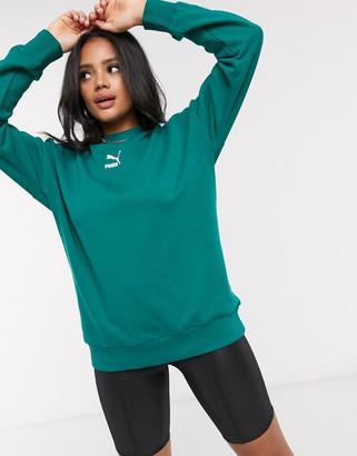 Puma classics T7 crewneck sweatshirt in teal green