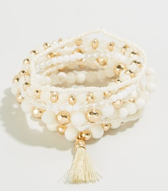 New Look 7 Pack Bead Tassel Stretch Bracelets