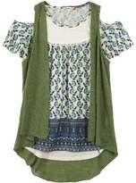 Speechless Girls 7-16 Slubbed Vest & Lace Yoke Cold Shoulder Top