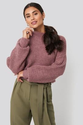 Di Lara Dilara X NA-KD Dropped Shoulder Oversized Knitted Sweater Beige