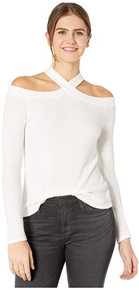 1 STATE 1.STATE Long Sleeve High Neck Cold-Shoulder Cozy Top