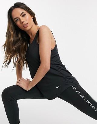 Nike Training elastika tank in black