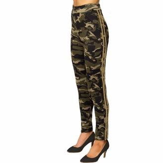 Xpose Ladies Womens Cargo Camo Camouflaged Print Twin Striped Pocket Casual Workout Yoga Shaper Leggings Pants Trousers Jeggings Khaki Black Gold White Grey 8 10 12 14 (Grey/White Stripe L/XL (12/14))