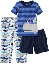 Carter's Baby Boy Striped Tee, Print Pants & Solid Shorts Pajama Set