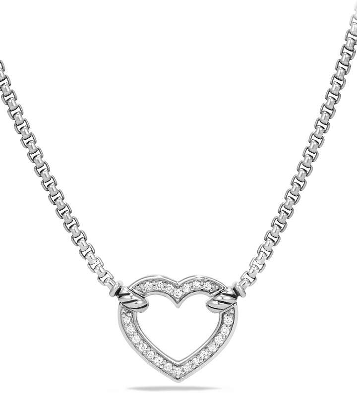 David Yurman Cable Collectibles Heart Station Necklace with Diamonds