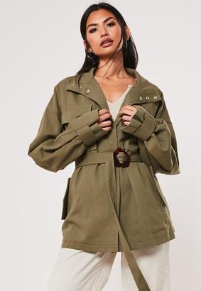 Missguided Khaki Canvas Buckle Detail Jacket