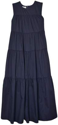 Co Sateen Pleated Layer Dress in Navy