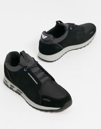 Emporio Armani suede mix eagle sole logo leather trainers in black